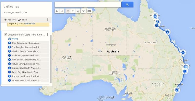 australia trip map